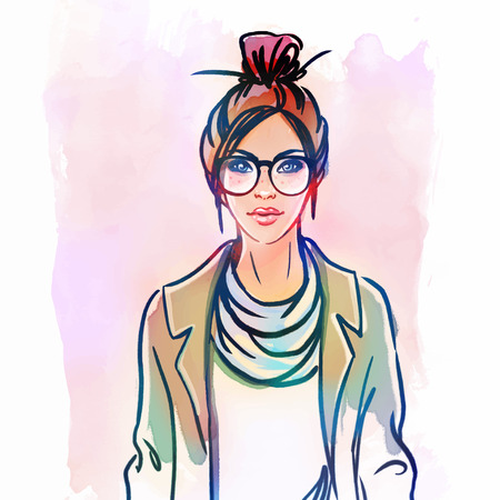 ironic: Urban street style: Pretty hipster girl with pink hair holding coffee cup portrait isolated on white background, sketchy style fashion vector illustration