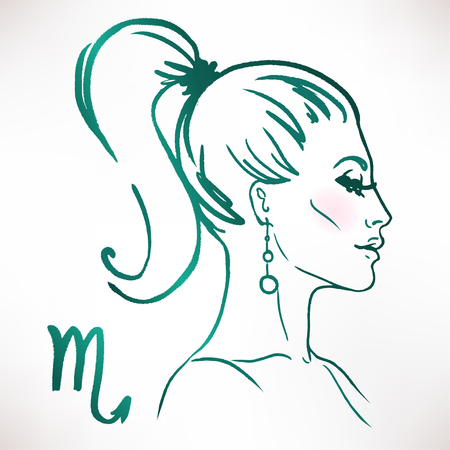 Scorpio zodiac sign as a beautiful girl. Ink and watercolor fashion vector illustration Vettoriali