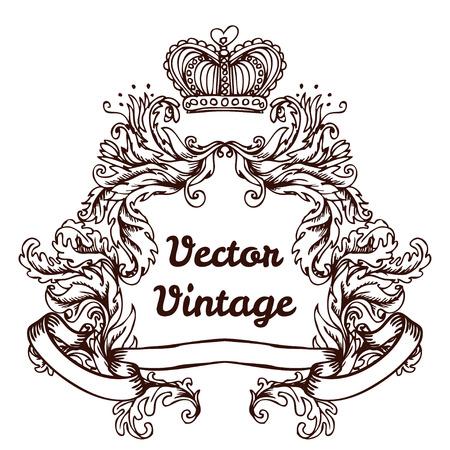 Crête avec des éléments vintage de conception de style, utiliser pour la trame, format vectoriel très facile à modifier, des objets individuels Banque d'images - 43273034
