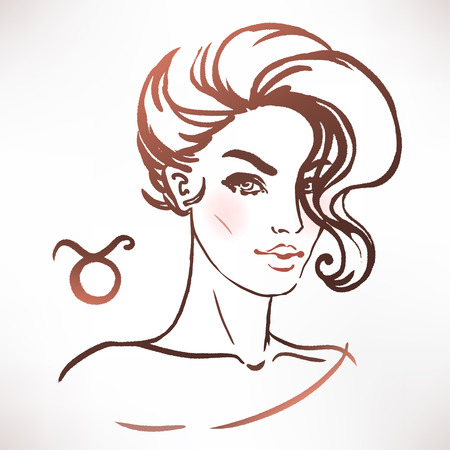 Taurus zodiac sign as a beautiful girl. Ink and watercolor fashion vector illustration 向量圖像