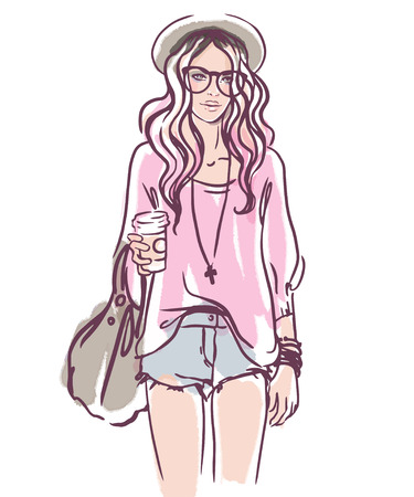 skinny: Urban street style: Pretty hipster girl with pink hair holding coffee cup portrait isolated on white background, sketchy style fashion vector illustration