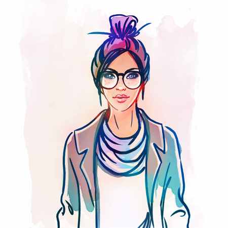 fashion girl: Urban street style: Pretty hipster girl with pink hair holding coffee cup portrait isolated on white background, sketchy style fashion vector illustration
