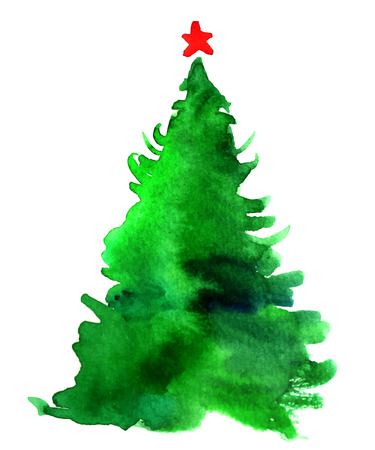 Watercolor Christmas tree isolated on a white background