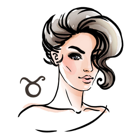 Taurus zodiac sign as a beautiful girl. Ink and watercolor fashion vector illustration Иллюстрация