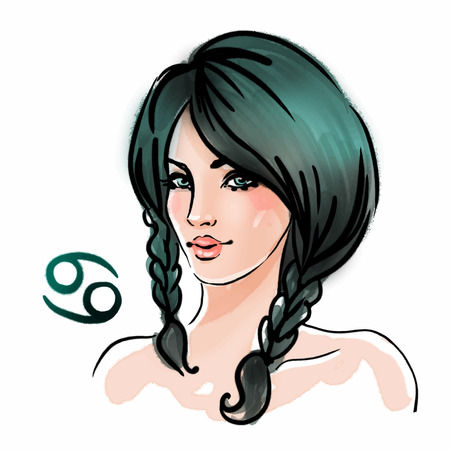 Cancer zodiac sign as a beautiful girl. Ink and watercolor fashion vector illustration