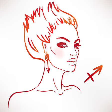Sagittarius zodiac sign as a beautiful girl. Ink and watercolor fashion vector illustration