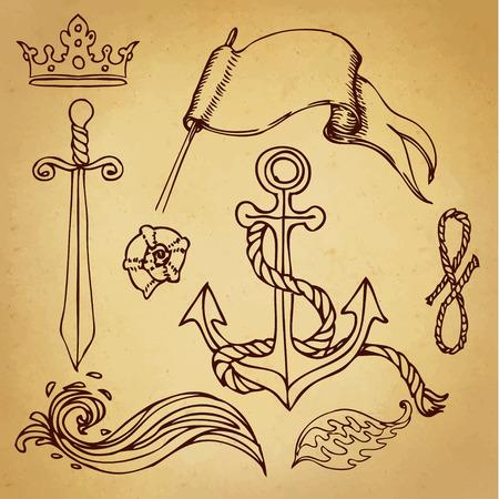 ocean wave: Hand drawn old school looking marine sketches set