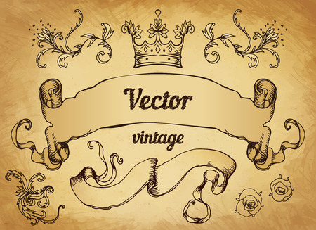 crest with vintage style design elements, use for logo, frame, vector format very easy to edit, individual objects