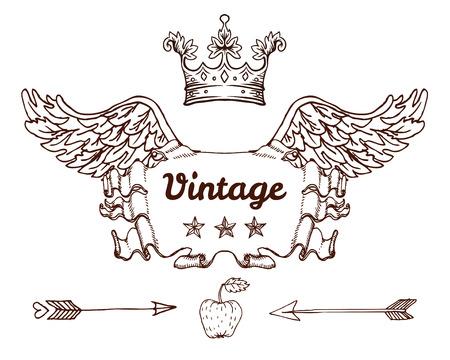 Crest With Vintage Style Design Elements, Use For Logo, Frame ...