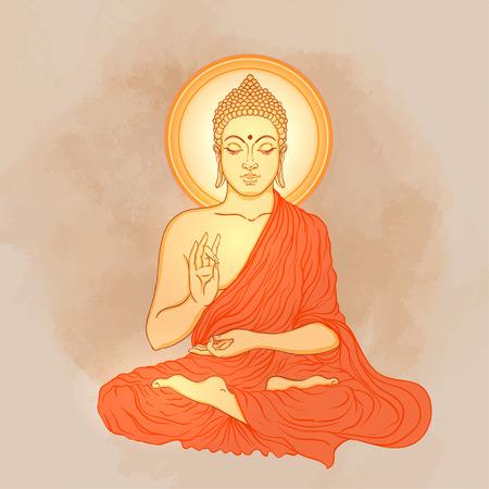 lord buddha: Sitting Buddha over ornate mandala round pattern. Vector illustration. Illustration