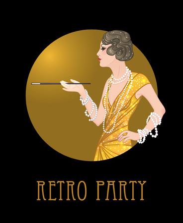 dresscode: Flapper girl: Retro party invitation design template. Vector illustration.