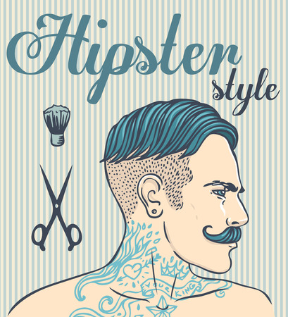 men hairstyle: Hipster Barber Shop Business Card design template. Vector illustration.