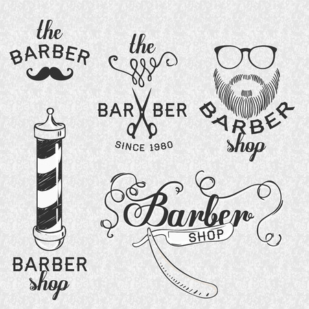 vintage stamp: Hipster Barber Shop Business Card design template. Vector illustration.