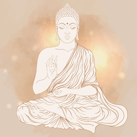 Sitting Buddha over ornate mandala round pattern. Vector illustration. Иллюстрация