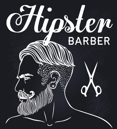 barber: Hipster Barber Shop Business Card design template. Vector illustration.