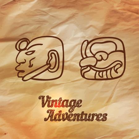 archeology: Vintage Adventures: vector set. Design elements