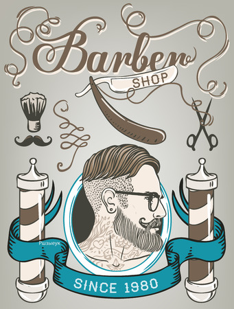 old frame: Hipster Barber Shop Business Card design template. Vector illustration.