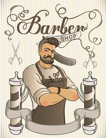 Hipster Barber Shop Business Card design template. Vector illustration. Stok Fotoğraf - 43448174