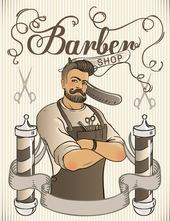 Hipster Barber Shop Business Card design template. Vector illustration.