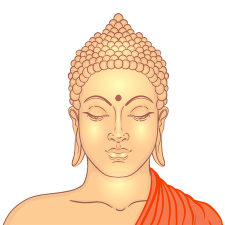 Sitting Buddha over ornate mandala round pattern. Vector illustration. Çizim