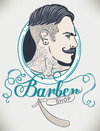 man style: Hipster Barber Shop Business Card design template. Vector illustration.