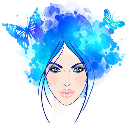 butterfly and women: Beautiful girls face with butterflies in her hair. Watercolor illustration in vector