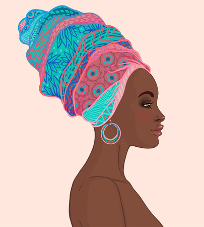 Portrait of beautiful African woman in turban (profile view) Stock Illustratie
