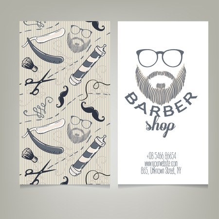 Template of barber shop with barber pole in woodcut style retro hipster barber shop business card design template vector illustration vector wajeb Gallery