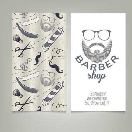 Hipster Barber Shop Business Card Design-Vorlage. Vektor-Illustration. Standard-Bild - 43448445