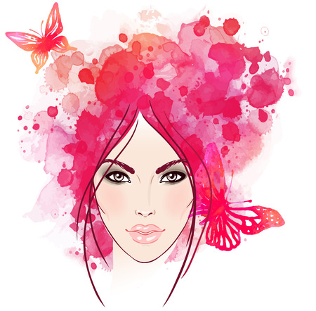 Beautiful girl's face with butterflies in her hair. Watercolor illustration in vector Stock Vector - 43448451