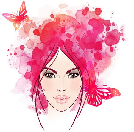 salud sexual: La cara de la muchacha hermosa con mariposas en el pelo. Ilustraci�n de la acuarela en el vector