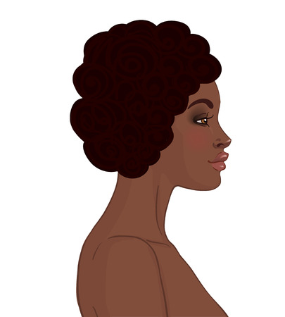 African American Girl Face. Vector illustration.