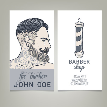 print shop: Hipster Barber Shop Business Card design template. Vector illustration.