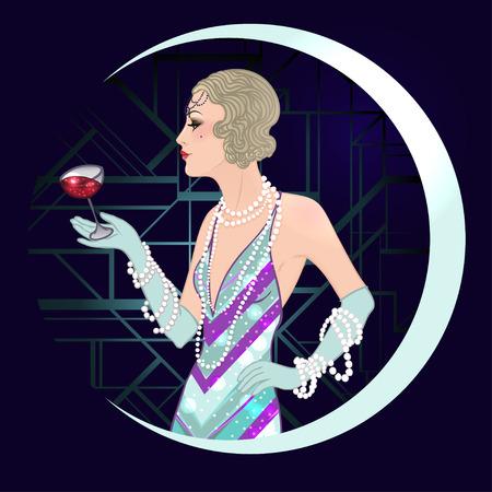 flapper: Flapper girl: Retro party invitation design template. Vector illustration.