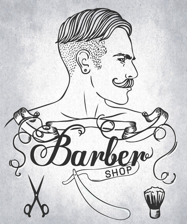shop: Hipster Barber Shop Business Card design template. Vector illustration.