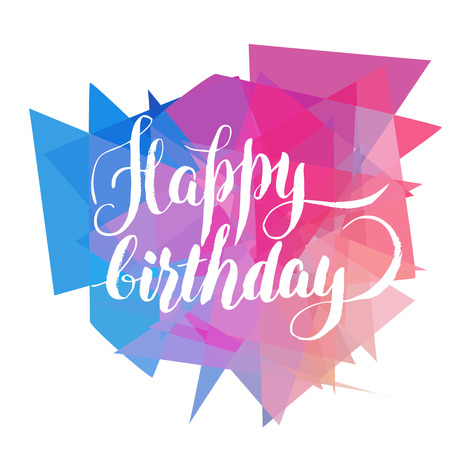 Happy birthday, lettering over mosaic background Illustration