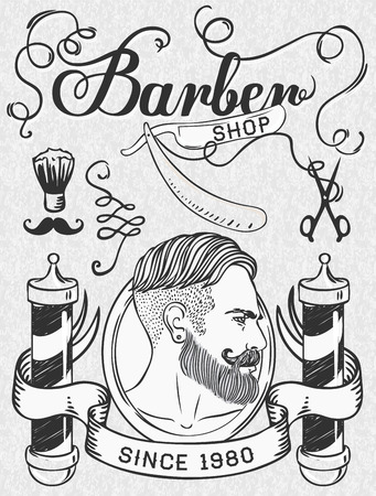 vintage sign: Hipster Barber Shop Business Card design template. Vector illustration.