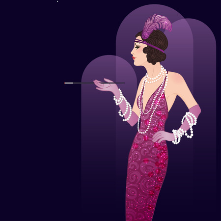the twenties: Flapper girl: Retro party invitation design template. Vector illustration.