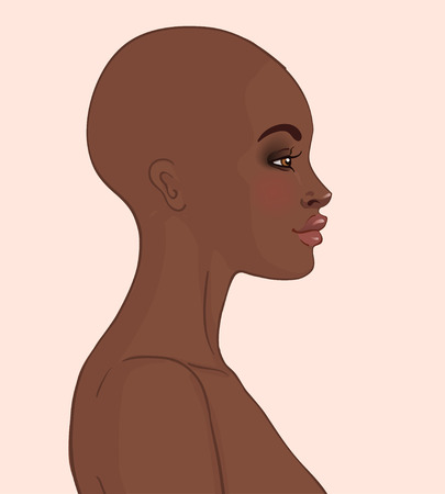 shaved head: Portrait of bald beautiful African American woman (profile view)