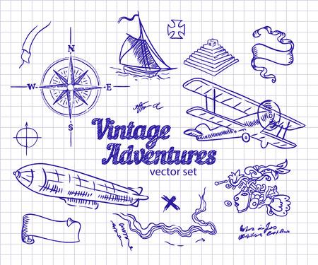 design elements: Vintage Adventures: vector set. Design elements