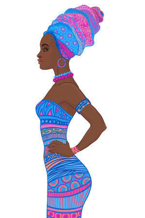 full length portrait: Portrait of beautiful African American woman in turban and sexy bandage dress (profile view)