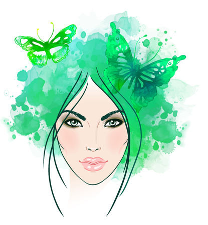 hair style: Beautiful girls face with butterflies in her hair. Watercolor illustration in vector