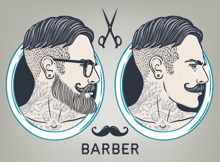 barbero: Plantilla de diseño inconformista Barber Shop Tarjeta de visita. Ilustración del vector. Vectores