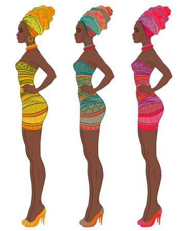 american sexy: Портрет красивой афро-американской женщины в чалме и сексуальное платье повязка (вид профиля) Иллюстрация