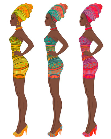 dresses: Portrait of beautiful African American woman in turban and sexy bandage dress (profile view)