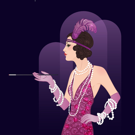 Flapper girl: Retro party invitation design template. Vector illustration.