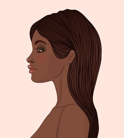 Portrait der schönen African American Frau mit langen Haaren (Profilansicht)