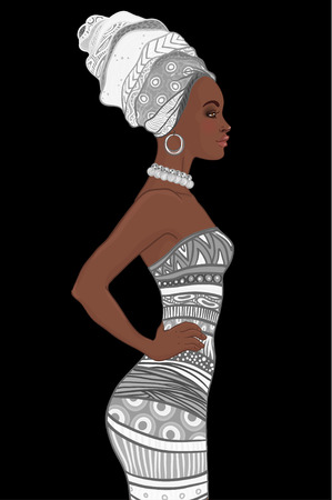 full length: Portrait of beautiful African American woman in turban and sexy bandage dress (profile view)