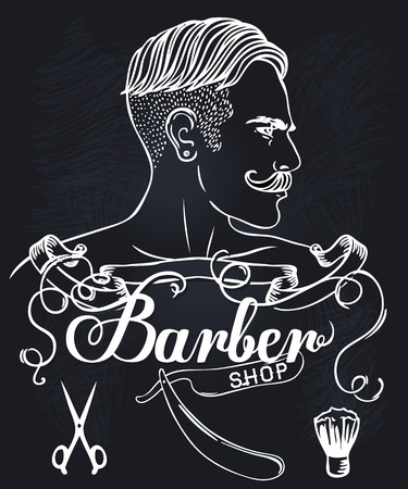 beard man: Hipster Barber Shop Business Card design template. Vector illustration.