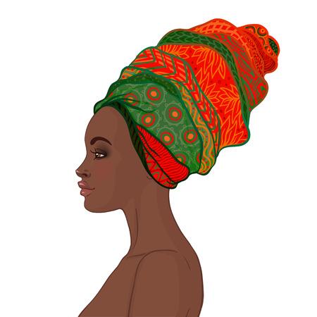 Portret van mooie Afrikaanse vrouw in tulband (profiel bekijken)